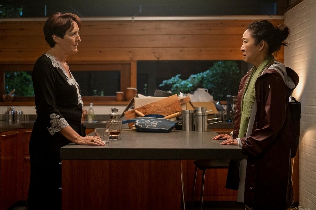 Fiona Shaw as Carolyn Martens, Sandra Oh as Eve Polastri - Killing Eve Season 3